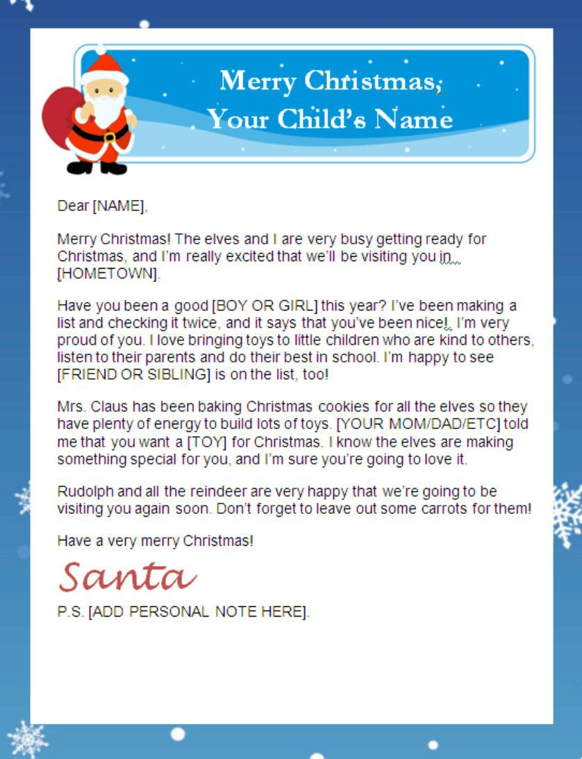 Free Personalized Santa Letters Printable